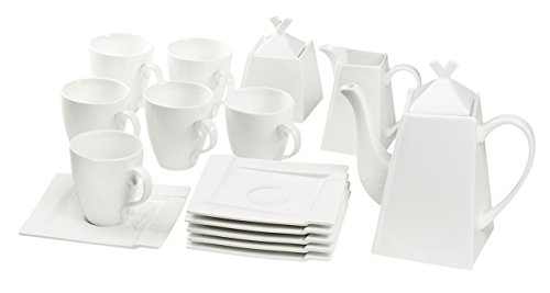 Dajar kubiko Café-Set 17Piezas, Porcelana, Blanco, 27,3x 19,7x 24,7cm,-Unidades