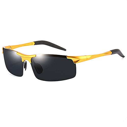 WULE-Sunglasses Unisex Quadrat ultradünne Grenze Metall Angeln Reisen Fahren Strand Anti-UV-Schutz Tinte UV400 Outdoor Sports Reiten Herren polarisierte Sonnenbrille (Farbe : Gold)