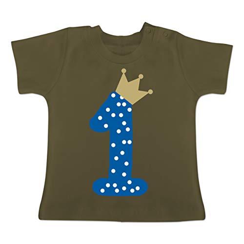 Geburtstag Baby - 1. Geburtstag Krone Junge Erster - 18-24 Monate - Olivgrün - BZ02 - Baby T-Shirt Kurzarm (1. Geburtstag Party Thema)