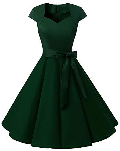 MuaDress 1960 Damen Vintage Kleid Rockabilly 1950er Retro Cocktailkleider Einfarbig Dunkelngrün XL