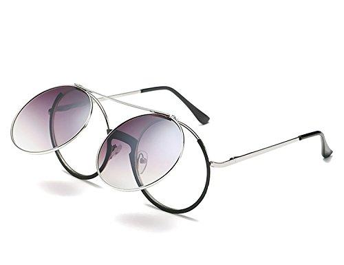 Bmeigo Damen Retro Sonnenbrille, Mode Rund Brillen mit Flip Up Gläsern Metallkreis Steampunk Unisex mit UV400 Schutz