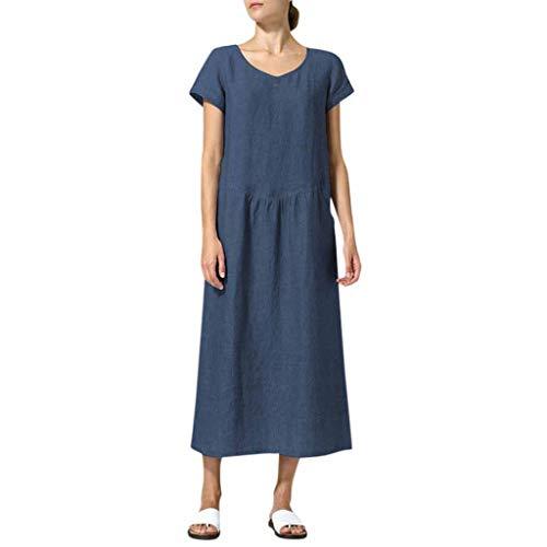 SHE.White Damen Freizeit Einfarbig Große Größen Rundhals Kleid Sommer Kurze Ärmel Maxi Kleid HoheTaille Strandkleider Mit Tasche