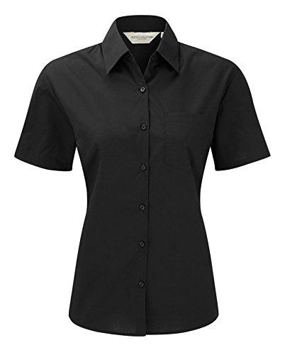 Russell Collection Women's Easycare Poplin Short Sleeve Shirt Noir