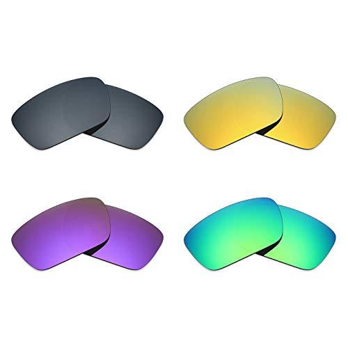 MRY 4Paar Polarisierte Ersatz Gläser für Oakley Fuel Cell sunglasses-black Iridium/24K Gold/Plasma violett/Smaragd Grün