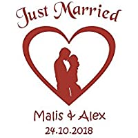 Autoaufkleber Hochzeit - Just Married Paar im Herz