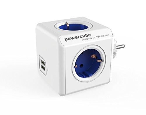 Power-Würfel Original DuoUSB Steckdosenwürfel für 4 Stecker und 2 USB Ports, Reise-Adapter und Mehrfach-Steckdose ohne Kabel, 230V Schuko, blau-weiß