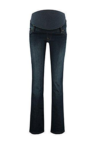 Love2Wait Damen Schwangerschaftsjeans Umstandshose Five-Pocket-Jeans JUDY elastisch sehr tiefer Bund bequemer Schnitt flare-dark wash blau (Flare Leg Jeans Maternity)