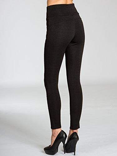 CASPAR HLE022 Leggings légèrement doublé stylé taille haute avec strass sur le côté pour femme Noir