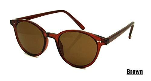 LKVNHP Neu Frauen Männer Retro Runde Sonnenbrille Mode Sonnenbrillen für Damen Niet -Dekoration Brillen Oculos de sol Brille UV400Brown