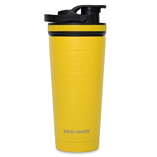 Ice Shaker Stainless Steel Leak Proof Double Walled Vacuum Insulated Water Bottle for Gym/Cycling/Travelling/Training/Office (Yellow, 26 oz/750 ml)