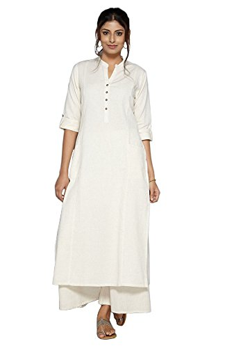 Pistaa-womens-Off-White-Solid-Cotton-Kurta-with-two-patch-pockets-Plus-Size