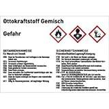 Gefahrstoffkennzeichnung Ottokraftstoff Gemisch gemäß GHS 10,5 x 14,8cm Folie mit mattem Laminat Abmessung des Kennzeichnungsschildes für Gebindegröße 50 - 500 Liter