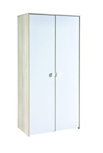 Miroytengo Armario para Dormitorio Juvenil 2 Puertas Interior con 2 Barras y estantes Color Blanco Mate...
