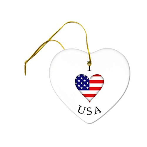Tiukiu I Heart Usa American Flag July 4 Independence Day Ceramic Hanging Heart Ornament
