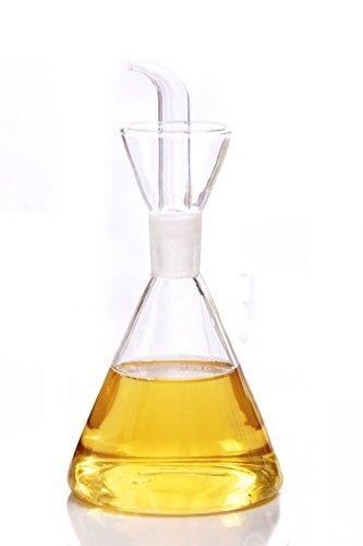 Eleton Cône d'huile d'olive Distributeur de bouteille d'huile en verre avec No Drip Bouteille Bec verseur - Huile Distributeur bouteilles pour cuisine - L'Huile D'OLIVE en verre Distributeur au contrôle à l'huile végétale de cuisson et vinaigre 350 mL claire
