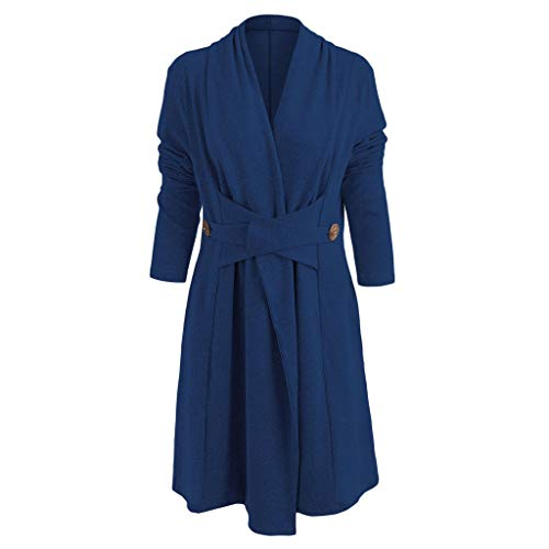 Eine Taste Lange Strickjacke (VRTUR Damen Mantel Öffnen Vorderseite Taste Lange Staubtuch Strickjacke Nachahmung Kaschmir Langarmshirt Bluse (X-Large,Blau))