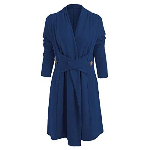 Damen Frühling Herbst Long Sweatshirt, LeeMon Mode Frauen Vorne Knopfleiste Lange Duster Strickjacke Imitation Cashmere Coat (In der Rabattaktion) -