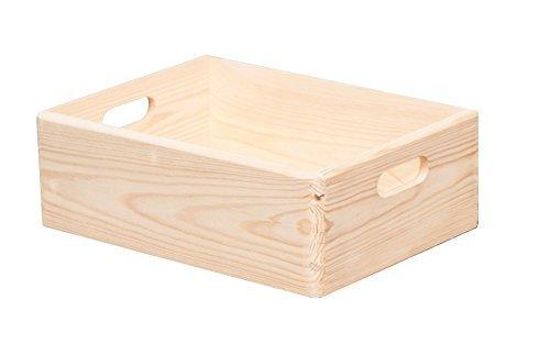 HRB Stapelboxen 8,4-57,6l Aufbewahrungsbox Lagerbox Holzkiste mit/ohne Deckel (16.8l 30x40x14cm ohne Deckel)