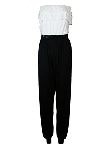 La casa di moda nuovo da donna panna e Nero effetto anteriore con passaggio per cintura Tutina tuta dimensioni 8-14