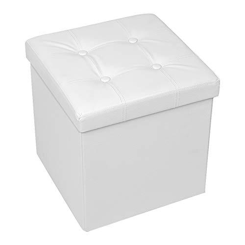 Amoiu 38 cm x 38cm x 38cm pouf cubo poggiapiedi sgabello contenitore cassapanca pieghevole carico max. 300 kg, bianco