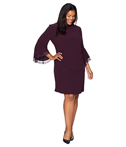 Tahari by ASL Womens Plus Size Long Bell Sleeve Crepe/Lace Shift Dress with Mock Neckline