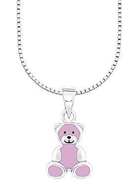 Amor Kinder-Kette mit Anhänger Mädchen Bär Bärenherz Charity Collection 925 Silber rhodiniert Emaille rosa 35+...