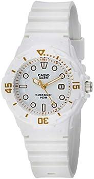 ساعة كاسيو يوث للنساء مينا ابيض سوار بلاستيك مطاطي - LRW-200H-7E2V