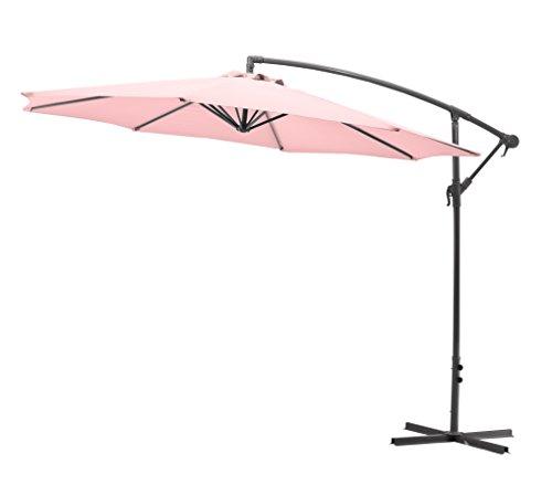 Gartenfreude Ampelschirm Sonnenschirm, Pastell Rosa, 300 cm