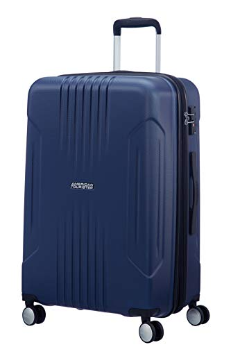 American Tourister Tracklite - Spinner Medium Expandable Bagaglio a mano, 67 cm, 82 liters, Blu (Dark Navy)