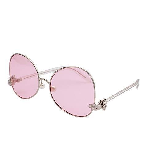 Polarised Sonnenbrillen Sonnenbrille Frauen Übergröße, Perle Sonnenbrille Farbige Transparente Sonnenbrille Dekorative Gläser, Outdoor Angeln (Farbe : Rosa, größe : 148mm)