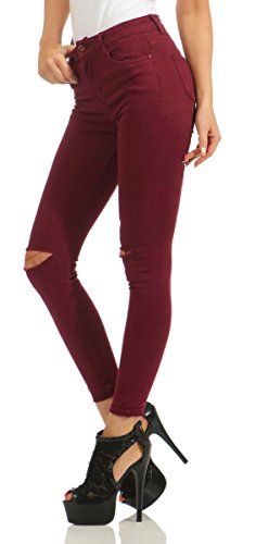 Fashion4Young - Jeans - Femme Turquoise turquoise M = 40 rouge bordeaux