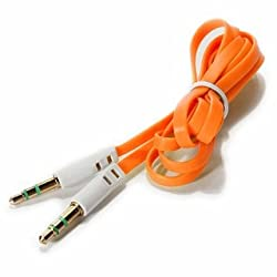Flat Aux cable 3.5 jack for all mobile and music system, 100 cm