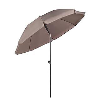 Sekey Parasol Rond de 200 cm Taupe Protection Solaire UV 25+ Idéal pour Le Jardin et la terrasse