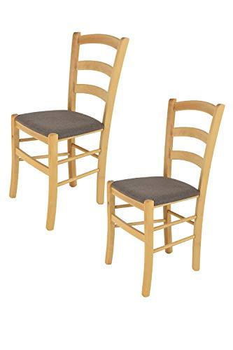 Tommychairs 2er Set Klassischer Esszimmerstuhl Venice in Küche, Bar und Esszimmerstuhl mit stabilem Gestell aus naturfarbenem Buchenholz und gepolsterter Sitzfläche aus Stoff