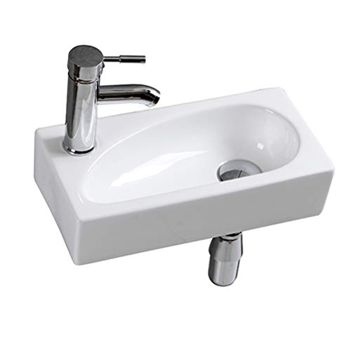 Lave Main Suspendu Céramique Lavabo Mural pour wc Évier Lave Mains Rectangle Design (Main gauche 410 x 200 x 100) / eConnect-EU