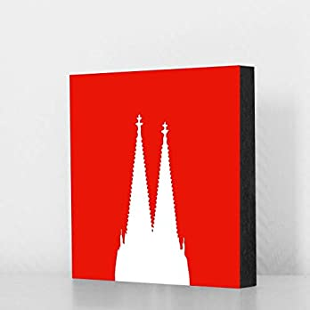 Köln Bild – Domspitzen weiss auf rot 14x14cm, MDF, Geschenk, Deko, Dom, Kölngeschenk, Cologne, Holz, Kunst