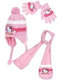 656b82856860 Hello kitty Echarpe, bonnet péruvien et gants enfant fille Rose et Violet  de 3 à