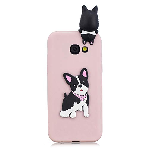 ZCXG Samsung Galaxy A3 2017 A320 Hülle Pink Katze Hund Silikon Clear View Cover 3D Hülle Ultra Dünn Back Bumper Case Gummi Stoßfest Anti-Scratch Slim Soft Cover Slim Fit Crystal #Black Dog -