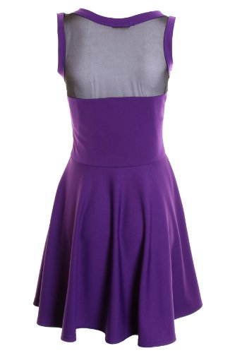 Saphir Damen Ärmelloses Front Mesh Einsatz Damen Flare Short Skater Kleid 8101214 Violett - Violett