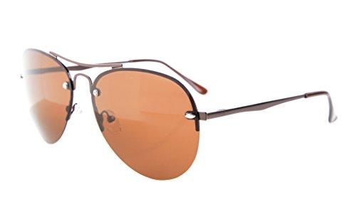 Eyekepper Halb Rand Pilot Stil polarisierten Sonnenbrillen Linse Braun Lens
