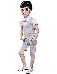 XFentech Trajes De Fiesta para Niños - Niños Traje Ceremonia Boda Chaleco  Pantalones Camisa de Manga 934b8f93fa64