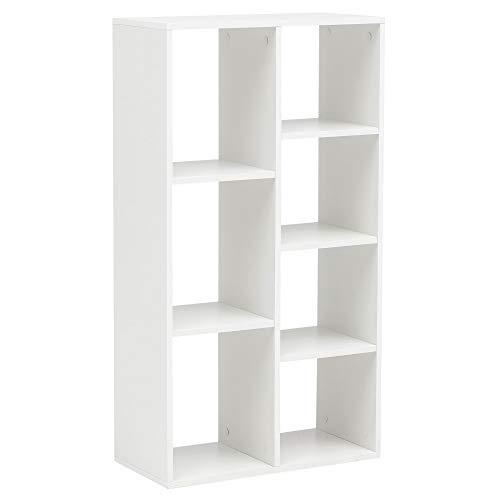 FineBuy Bücherregal FB14710 Weiß 60x110x29cm Würfelregal mit 7 Fächern Standregal | Design Regal Holz Freistehend | Ordnerregal Raumteiler Modern | Offenes Aufbewahrungsregal -