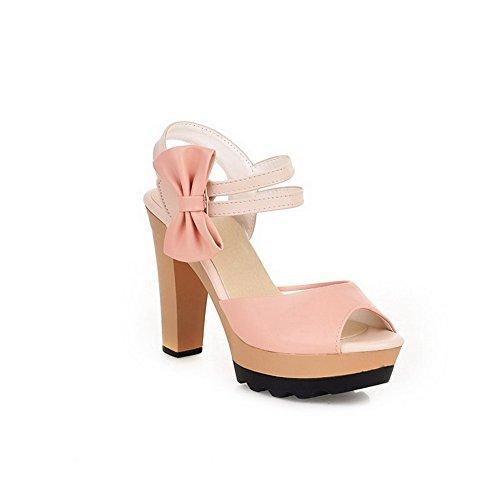 AllhqFashion Damen Gemischte Farbe Haken-Und-Loop Hoher Absatz Sandalen Mit Hohem Absatz Pink
