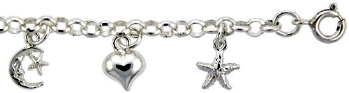 Revoni Sterling Silver Rolo Link Anklet w/ Moon, Star & Heart Charms