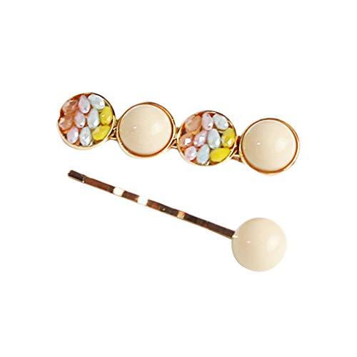 Lifet Haarspange Perlen, INS Haarspangen Krystall Haarnadeln Haarschmuck Geschenk Für Damen Mädchen Partei 2Pcs -