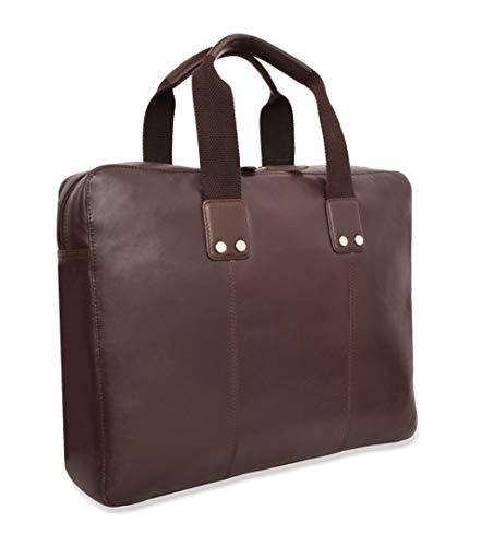 v-élan Herren Leder Formale Slim Aktentasche mit Laptop Sleeve 15,25W x 12H x 2.75d Zoll Espresso braun 15.25