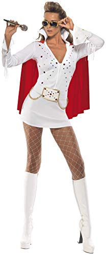 Sexy Kostüm Elvis Damen - Smiffys, Damen Elvis Viva Las Vegas Kostüm, Kleid und Umhang, Größe: M, 33252