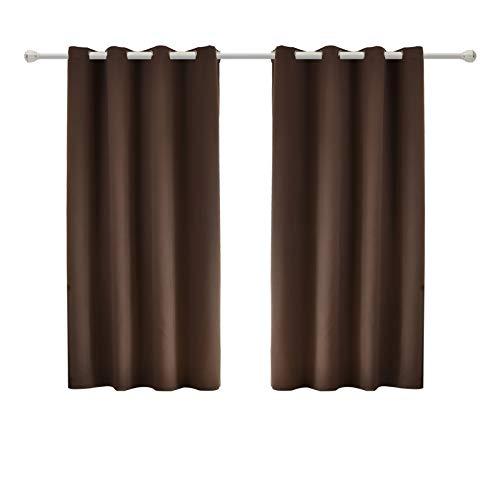 Braun Öse (WOLTU #488-2, 2 x Gardinen Vorhang Blickdicht mit Ösen, 2er Set leichte & weiche Verdunklungsvorhänge für Wohnzimmer Schlafzimmer Tür, 135x175 cm, Braun)