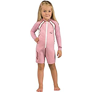 Cressi Unisex Shorty Kid Thermal Wetsuit Neoprene Ultra Stretch 1.5/2mm, Long Sleeves-Pink/White, XXL (7/8 Years)