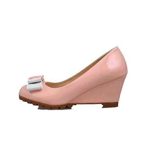 AgooLar Femme Couleur Unie Dépolissement à Talon Correct Tire Pointu Chaussures Légeres Rose
